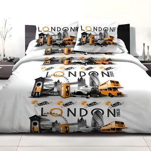PARURE DE DRAP Parure de drap 240 x 300 cm LONDON CITY ORANGE 4 p