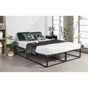 STRUCTURE DE LIT Lit futon double cadre de lit noir de grande taill