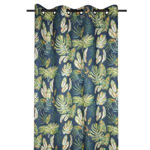 NICETOWN Rideaux Plantes Feuilles Imprim/és Rideau Occultant D/écoration de Fen/être /à Oeillets Tissu Polyester pour Salon Lot de 2 132 x 160 cm Bleu Clair