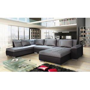CANAPÉ - SOFA - DIVAN Canapé d'angle panoramique XXL LEMON gris et noir