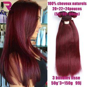 PERRUQUE - POSTICHE 3 tissage bresilien cheveux naturel lisse 7A 99J 2