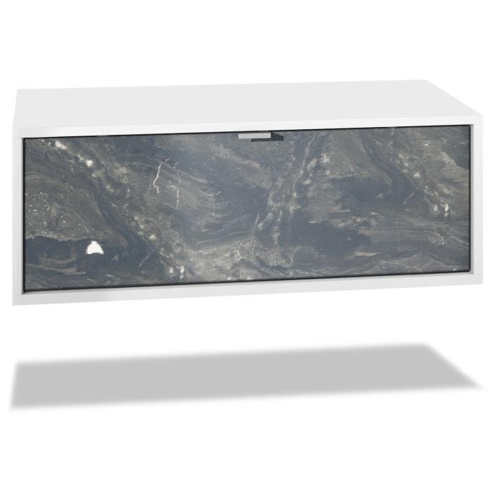 Meuble TV Lana 140 armoire murale lowboard 140 x 29 x 37 cm, caisson en blanc mat, façades en Marbre Graphite