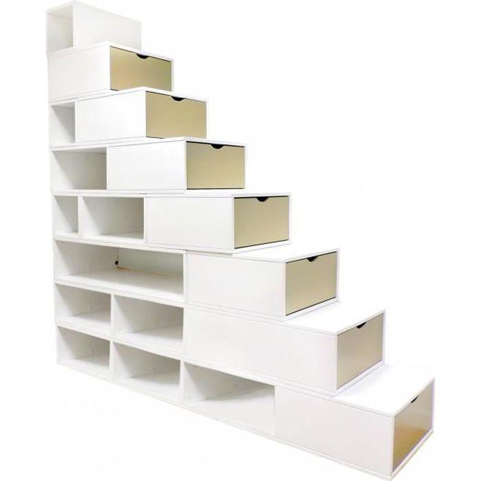 ABC MEUBLES Escalier Cube de rangement hauteur 200 cm Blanc/Moka