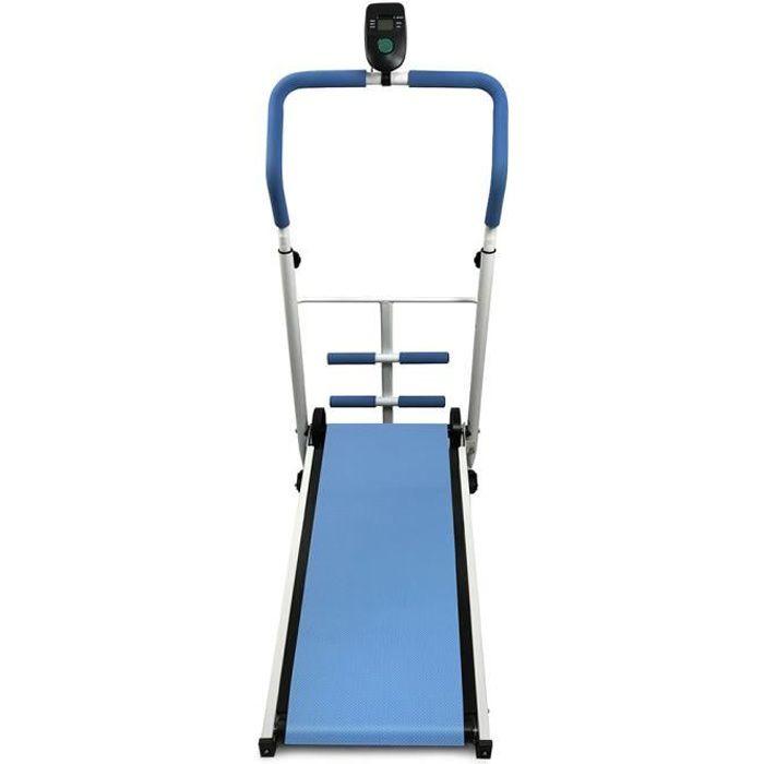 HOMBUY®Tapis de Machine Équipement de fitness mécanique avec barre de sit-up-modèle de base-bleu