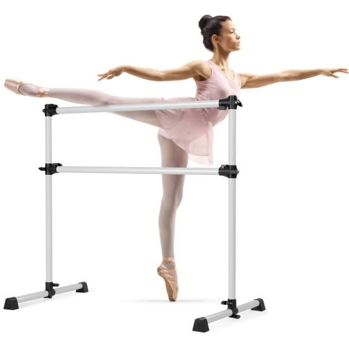 DREAMADE Double Barre de Dance Classique Mobile avec Barre Réglable en Hauteur, Barre de Dance avec Charge Max 50KG, pour Gymnase