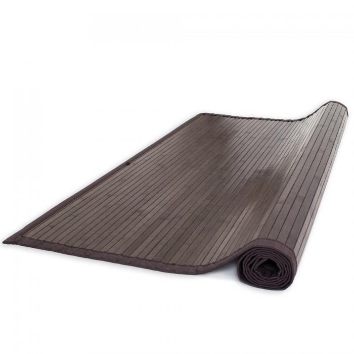 moderne Tapis bambou 200x200 marron fonce brillant et soyeux