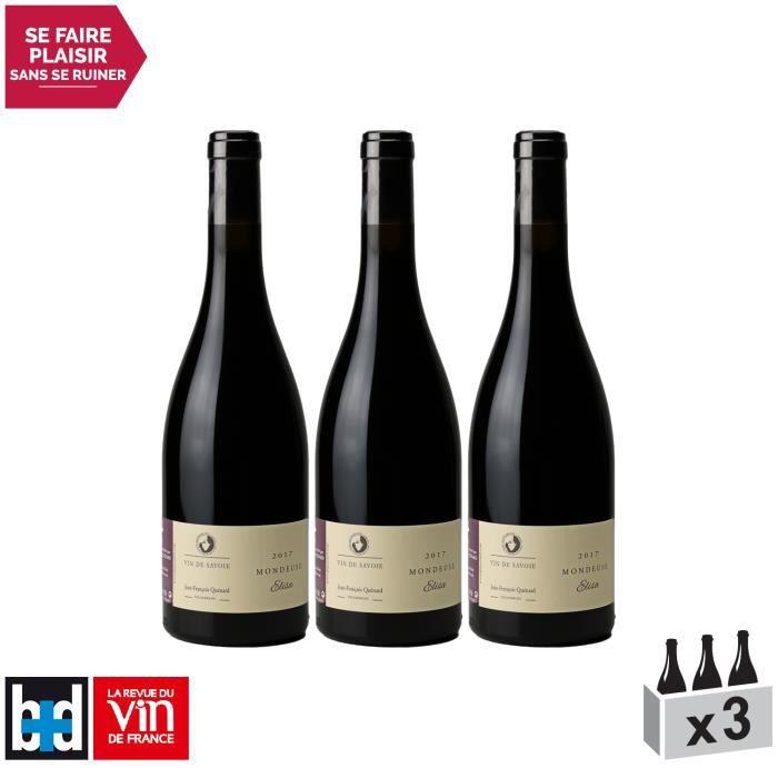 Vin de Savoie Mondeuse Elisa Rouge 2017 - Domaine Jean-François Quénard - Vin AOC Rouge de Savoie - Bugey - Lot de 3x75cl - 18-20
