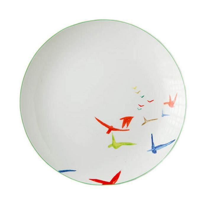 Rond Moderne Assiette de plats Assiette de céramique Assiettes en porcelaine Oiseaux