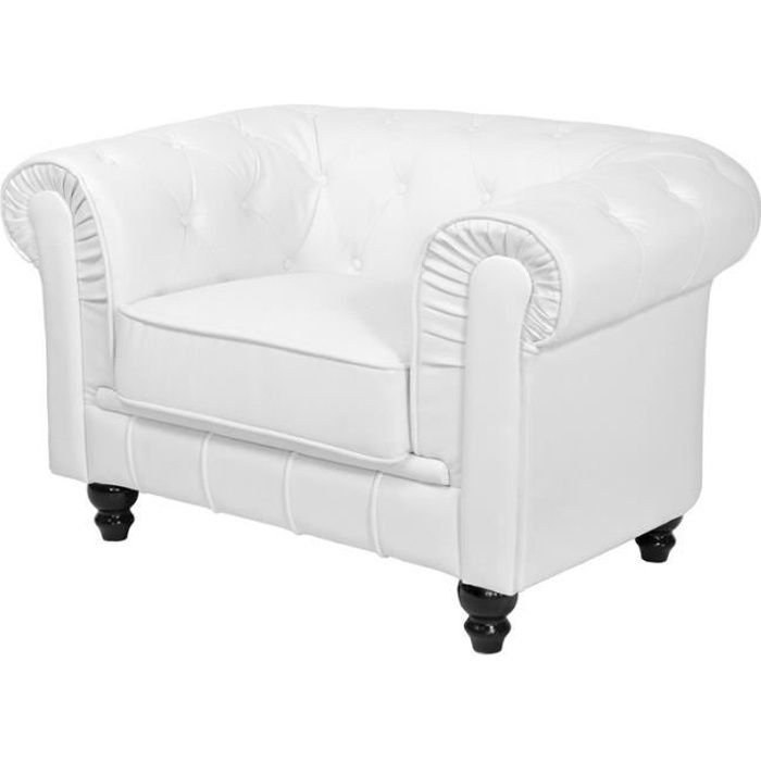 FAUTEUIL CHESTERFIELD BLANC PU