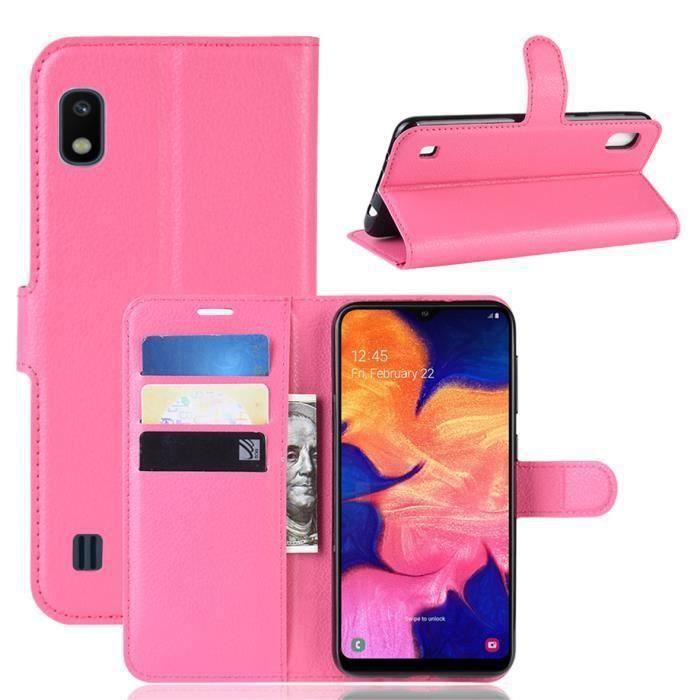 Etui Housse Samsung Galaxy A10 Rose en PU Cuir avec protection antichoc Support fonction Pochette téléphone Samsung Galaxy A10