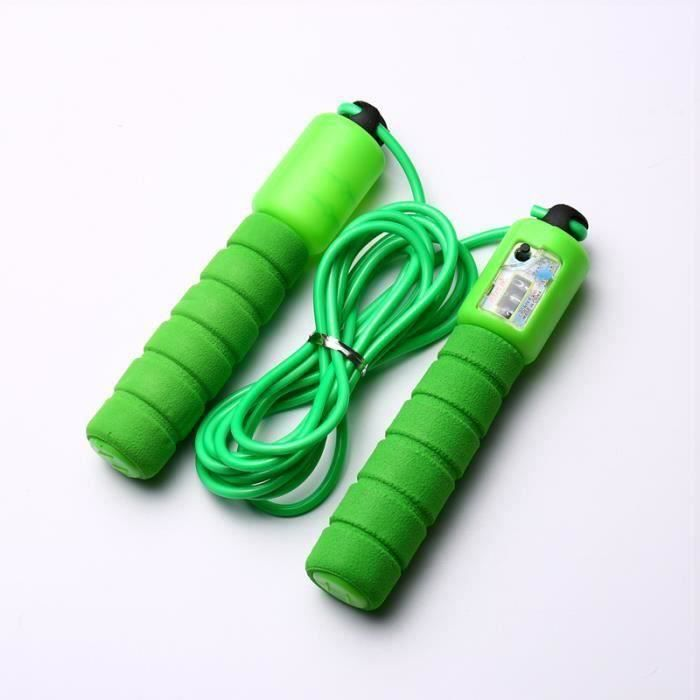 Corde à sauter avec Compteur Exercice Fitness réglable à vitesse rapide comptage sauter fil - Vert