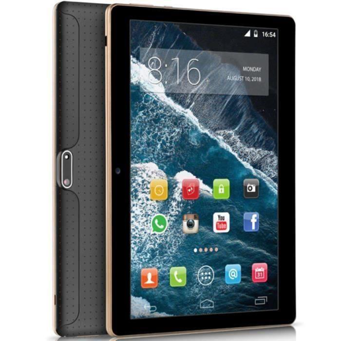 Tablette PC 10 pouces 4 Go + 64 Go ROM Wifi Android 9.0 Noir