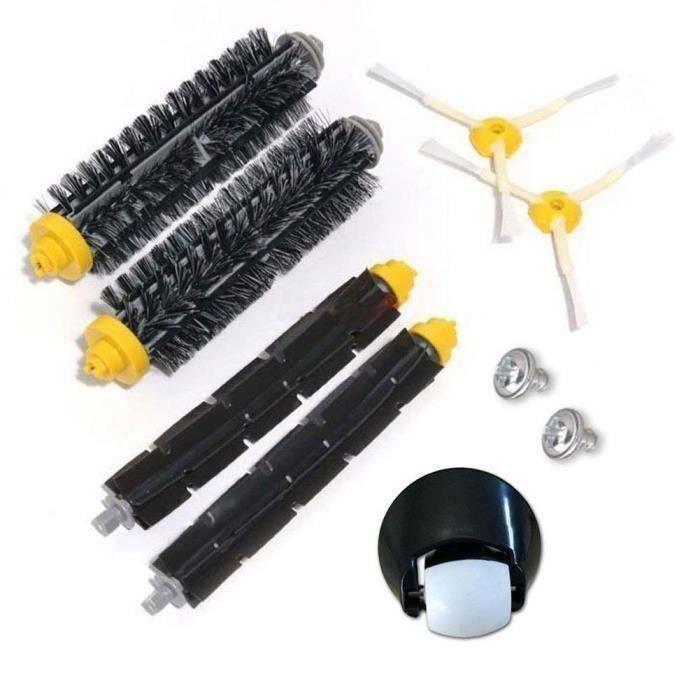 Ensemble de roulette de roue avant et kit de brosse pour iRobot Roomba 500 600 Série 700 529 550 595 620 625 630 650 660 760 770 780