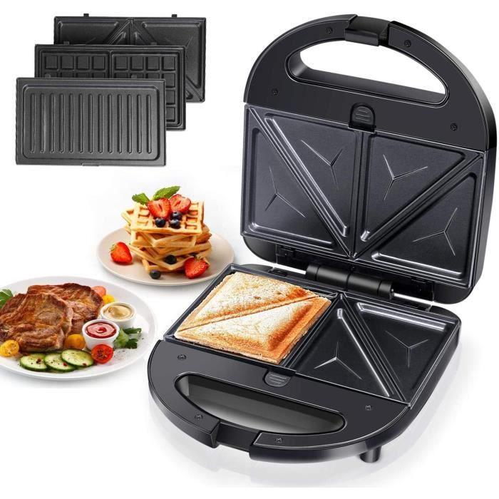 Aigostar Robin – Appareil 3 en 1 : sandwich, gaufrier et grill. 750 watts, plaques antiadhésives amovibles, poignée toujours froide.