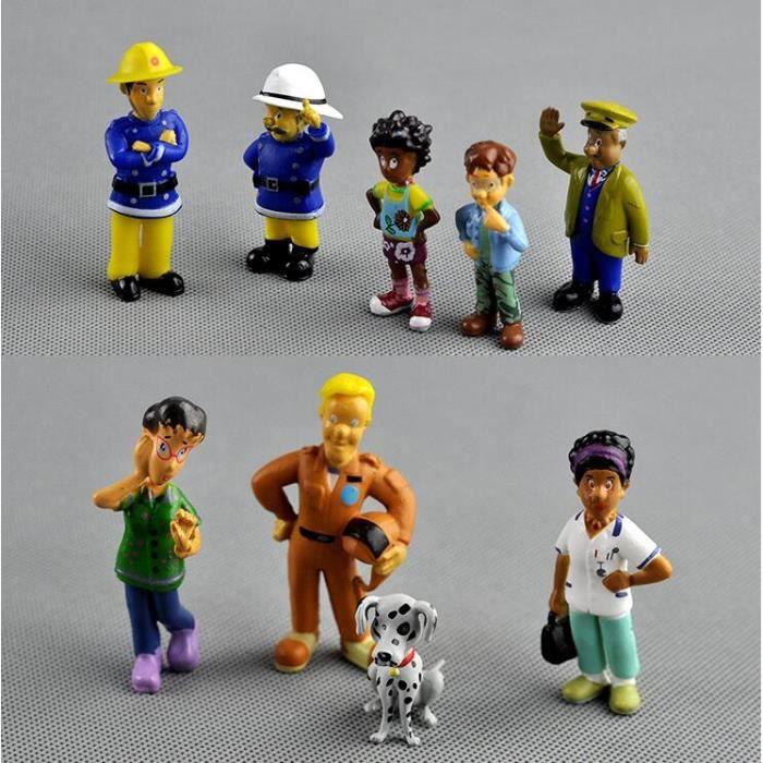 12 pcs / ensemble anime pompier Sam figurine figurine PVC chiffres poupée jouets 3-6 cm mignon de bande dessinée pour la collection