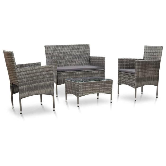 Ensemble repas de jardin 3 personnes- Table 60x40x36 cm + 3 fauteuils - plateau verre et structure résine tressée - Gris -QUT