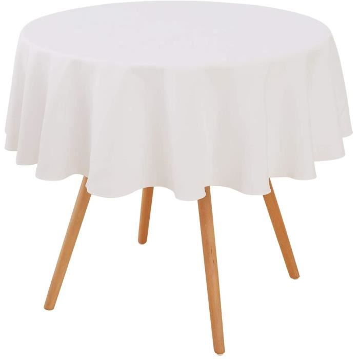NAPPE Deconovo Nappe Blanc Ronde Decoration Exterieur Impermeable Nappe Table Basse de Jardin en Salon 160cm174