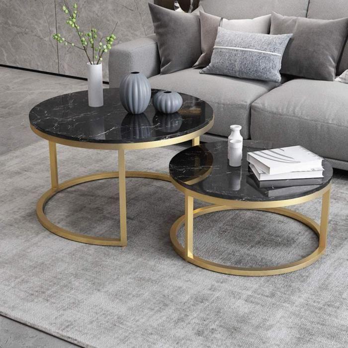 Ensemble de 2 - Table d'appoint Ronde-empilable - pour Le Petit Espace Salon et Bureau - Dessus en marbre Noir - Base en Fer d[634]