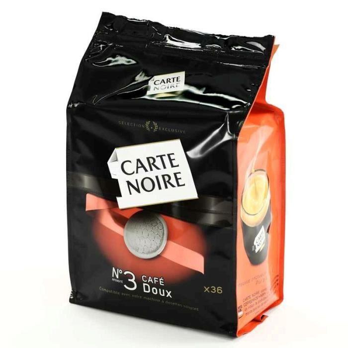 CARTE NOIRE N°3 café doux 36 dosettes 250g