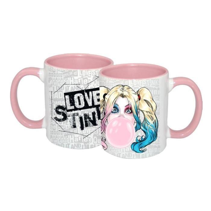 Tasse DC Comics Harley Quinn Love Stinks blanc-rose, imprimé, 100 % céramique, capacité environ 320 ml., emballage cadeau 9,6 cm x
