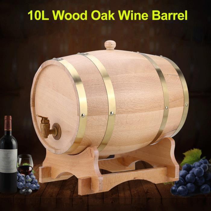 Tonneau de vin en bois de chêne vintage pour bière Whisky Rum Port 10L HB35 -RAI