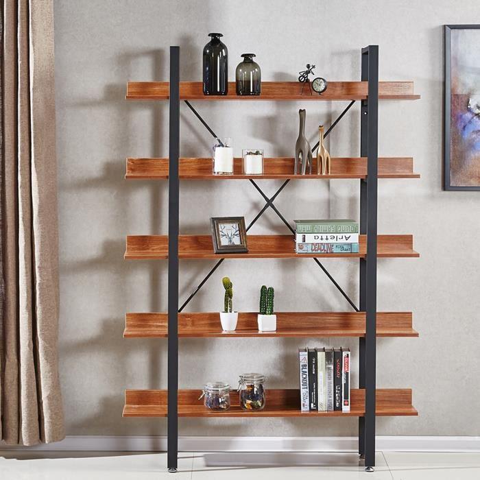 Étagères style industriel en bois foncé 170cm - Ekero - DESIGNETSAMAISON