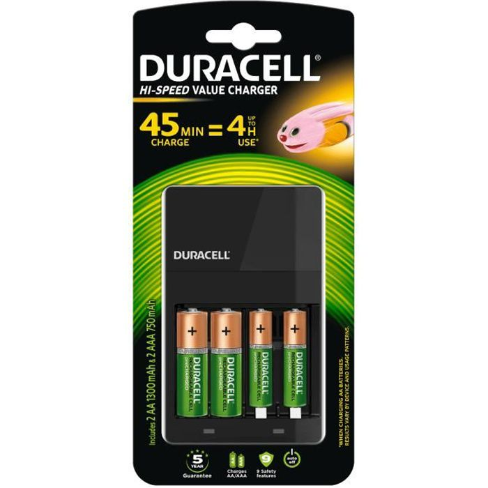 Chargeur DURACELL Hi-Speed Value + 4 piles rechargeables Duracell (2 AA + 2 AAA)