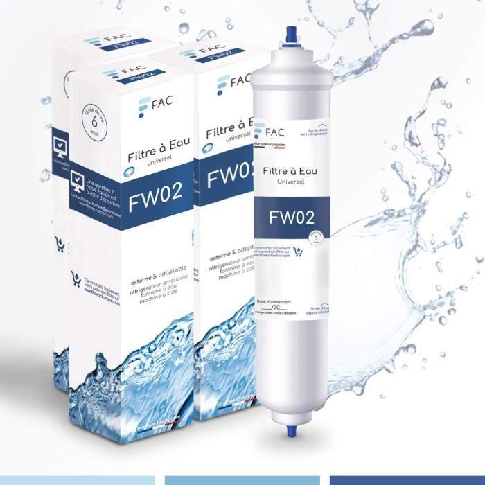 Pack de 2 Filtres à eau FW02 Fac - Marque française - Samsung DA29–10105J - Wpro USC100/1 - universel externe pour réfrigérateur US