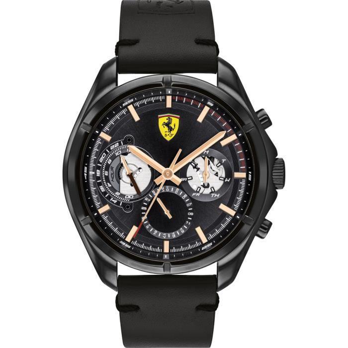Ferrari - Montre Hommes - Quartz Multi-Cadrans - Bracelet Cuir Noir - 0830752
