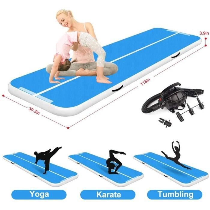 Tapis de Gymnastique Gonflable Air Track Gymnastique Tumbling Mat Portable Gym Exercise Sport Fitness Mat Blue (3 * 1 * 0.1m)
