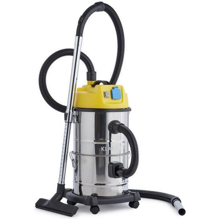 Klarstein Reinraum Aspirateur 3 en 1 sec et humide, souffleur et aspirateur de cendres 1800W, accessoires et réservoir 30l - Inox