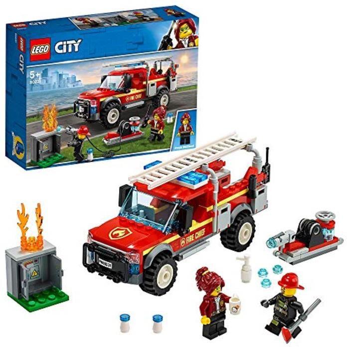 Jeu D'Assemblage LEGO IQAY1 60231 Ville Ville Réponse chef des pompiers Set Camion de pompiers et Cannon eau, jouets pour 5 ans