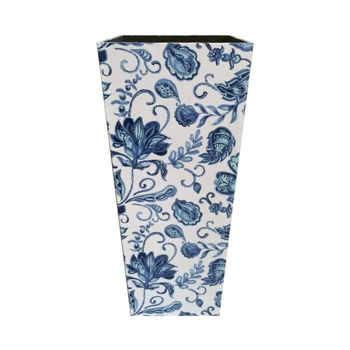Rebecca Mobili Porte-Parapluies Stockage Canvas Mdf Blanc Bleu Vintage 50x21x21
