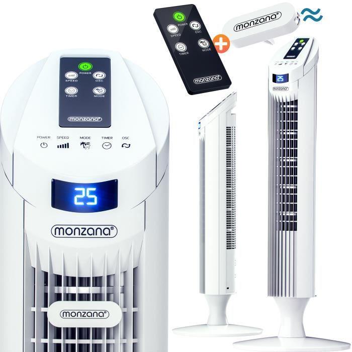 Monzana® Ventilateur colonne oscillant blanc 84cm fonction turbo télécommande 3 vitesses Ventilateur tour 45W maison intérieur