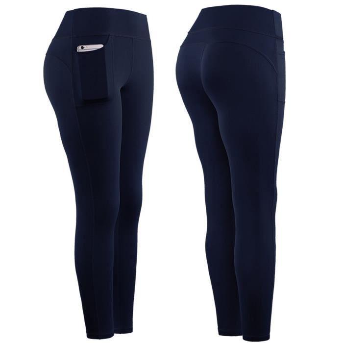Amincissant Pantalon Jogging Femme avec Poche Collant Running Femme Legging de Sport Taille Haute Pantalon Fitness Gym S-XL