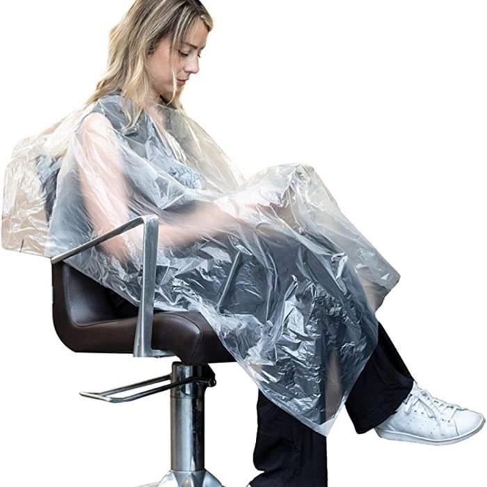 50PCS Capes de Coupe Peignoir de Coiffure Cape de Coiffure Imperméable Coupe Cheveux Cap de Protection Découpage Jetables