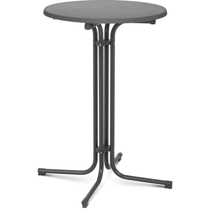 Mange-Debout Table Haute Bistrot Bar Ronde Royal Catering RC-BIS70FG (ø 70cm, Hauteur de 110 cm, Pliante, Gris)