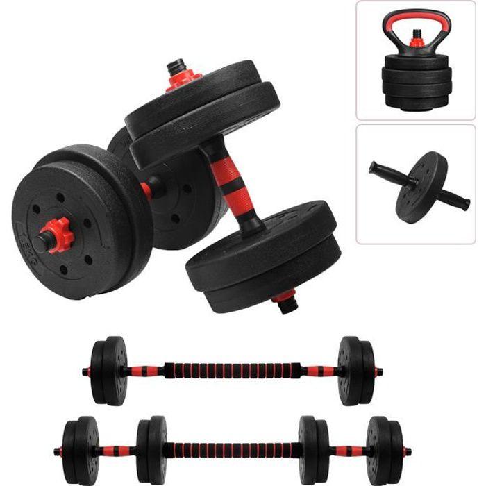 SINBIDE® Kit de Haltère Musculation avec barre - Kettlebell - Abdos roue - 4 en 1 Multifonction - 15kg poids réglable
