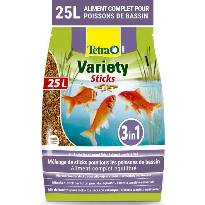 TETRA Aliment complet Pond Variety Sticks - Pour poisson de bassin - 25L
