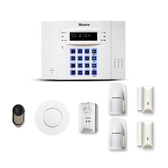 Alarme maison sans fil DNB 1 à 2 pièces mouvement + intrusion + détecteur de fumée + gaz - Compatible Box internet et GSM