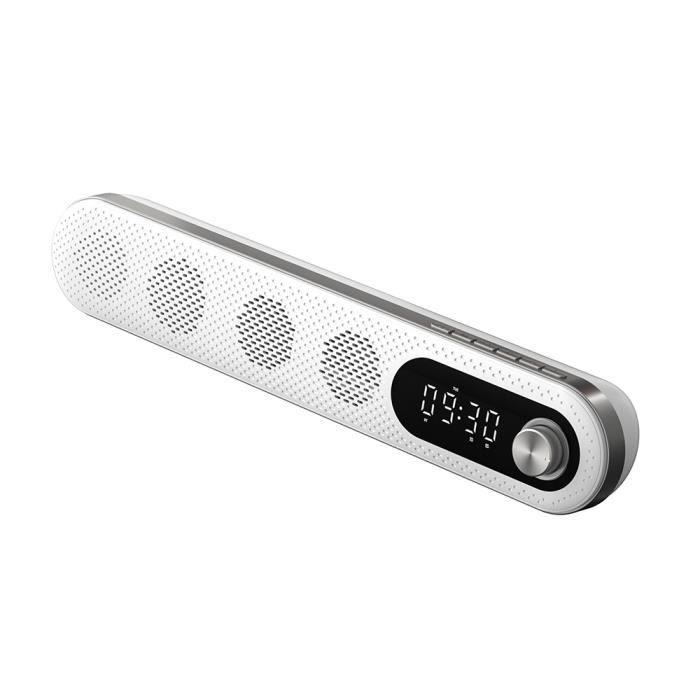 Enceinte BT WE av ecran LCD 10W affichage heure et temperature int dual alarme, lecteur USB/Micro SD Radio FM, Aux in, blanc