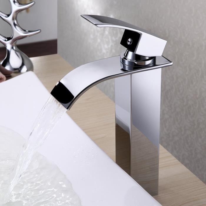 Bec haut et Design El/égant cascade Noir Robinet de Lavabo Salle de Bains en Laiton
