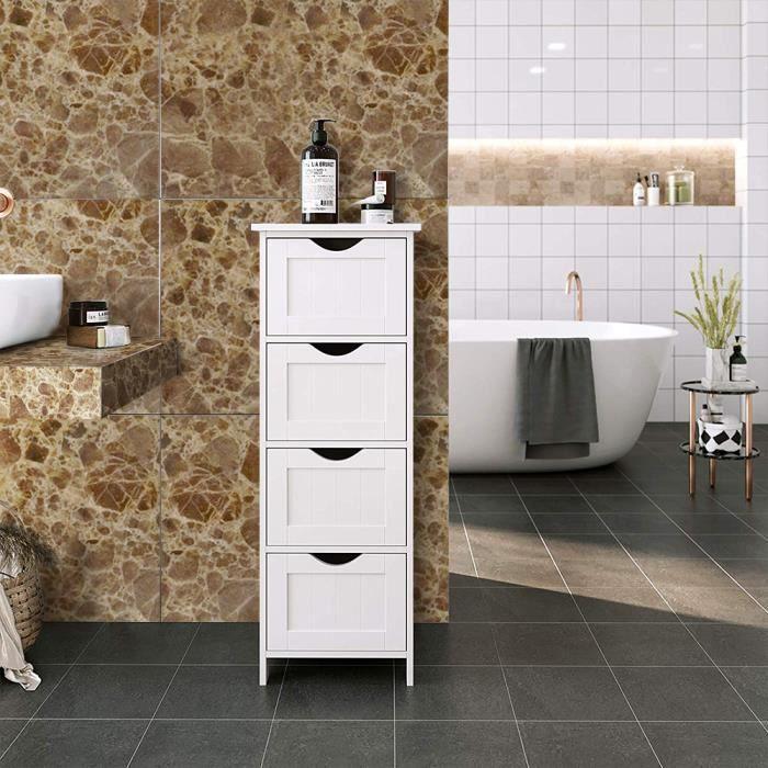 Meuble bas salle de bain Rangement chambre à coucher Blanche avec 4 Tiroirs  pour l\'entrée