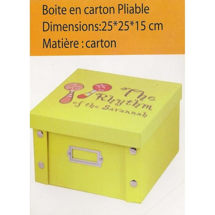 boite de rangement en carton pliable jaune achat vente. Black Bedroom Furniture Sets. Home Design Ideas