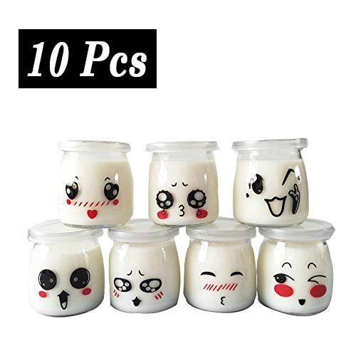 Contenance 100 ML Yangbaga 9 Pots pour Yaourt ou Cr/ème Dessert en Verre avec D/écor /émotic/ône Couvercles et Cuill/ère en Bois