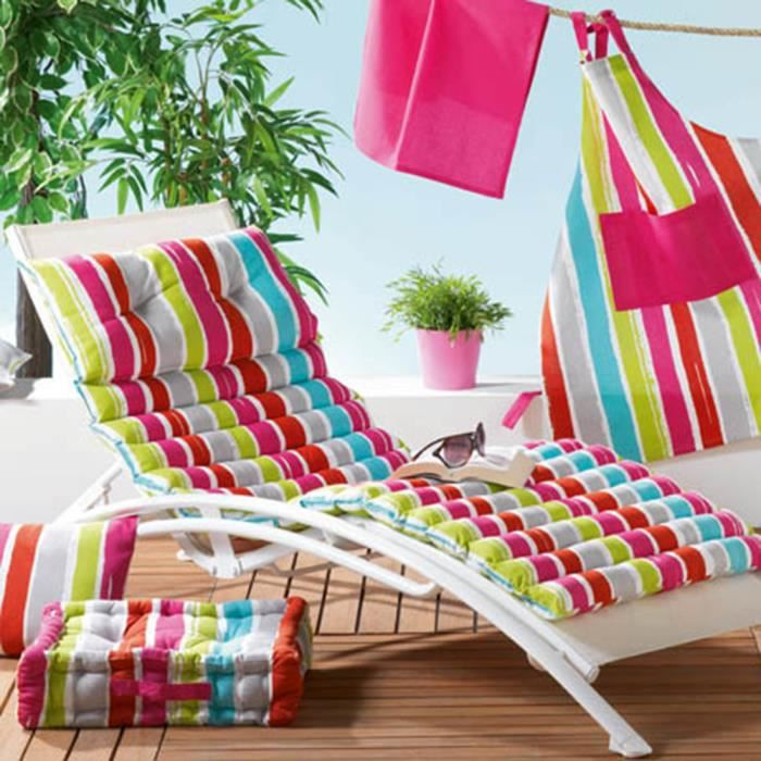 coussin bain de soleil pacifique multicolore achat. Black Bedroom Furniture Sets. Home Design Ideas