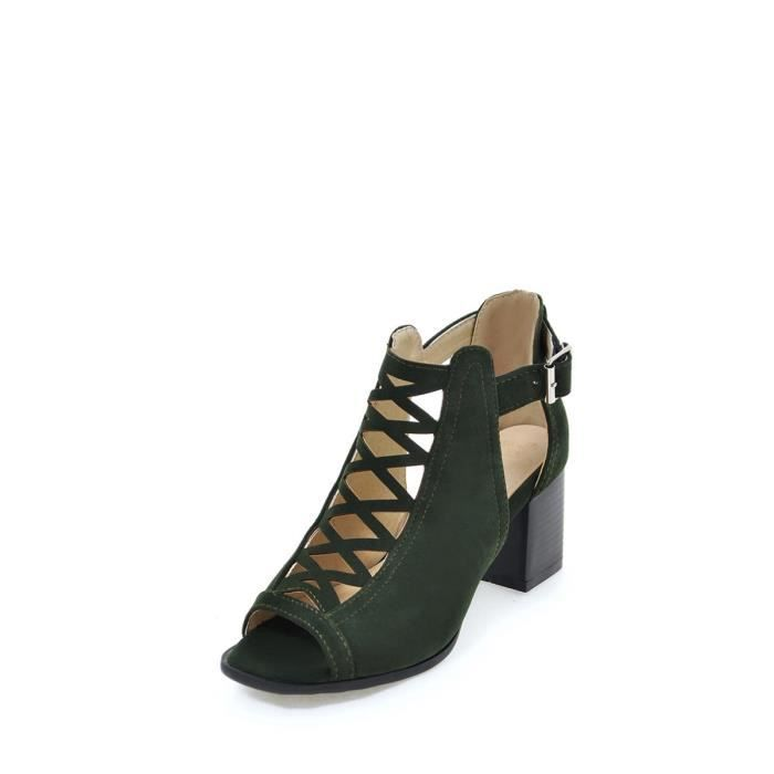 Sandales solides Color Cross Band Peep Toe Buckled Chaussures 5248334