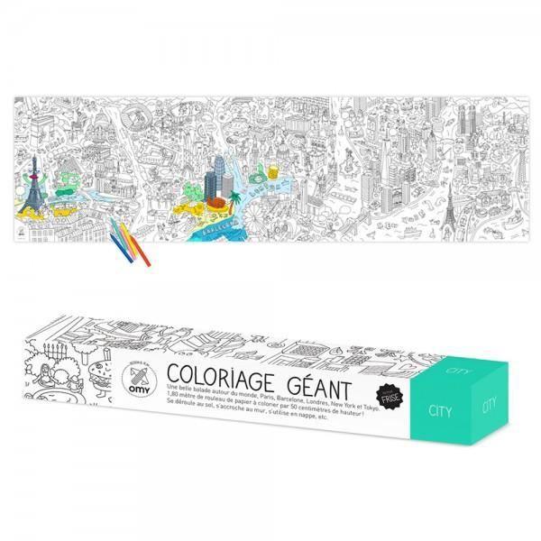 Coloriage Geant City En Frise Omy Blanc Et Noir Achat Vente Jeu De Coloriage Dessin Pochoir Cdiscount