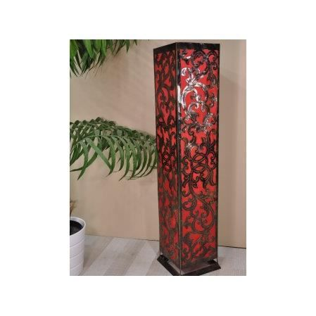 lampe de sol carr arabesque en acier rouge achat. Black Bedroom Furniture Sets. Home Design Ideas