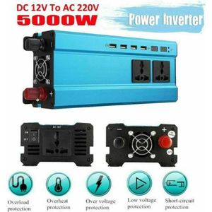 2 Prises Secteur KKmoon 800W Onduleur de Voiture DC 12V /à AC 220V 50Hz avec 4 Ports USB